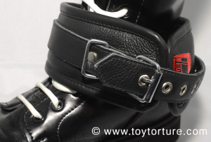 Restraints put around a boot