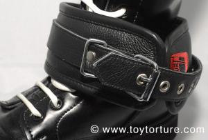 Restraints put around a boot