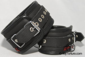 Roller Buckle on a two piece Leather Restraint with Piping