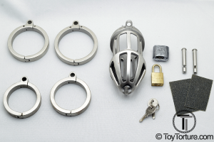 Everything you get when you order the Bon4 Metal Chastity Cage