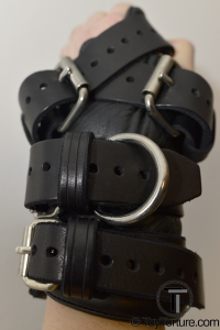 The Back of the Restraints with all four Buckles fastend