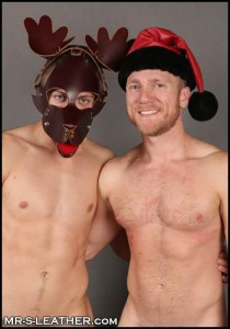 Mr S Reindeer Muzzle & Leather Santa Hat
