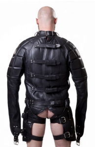 Rear View of the Parus Heavy Leather Straitjacket