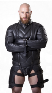 Front View of the Parus Heavy Leather Straitjacket