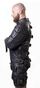 Side View of the Parus Heavy Leather Straitjacket